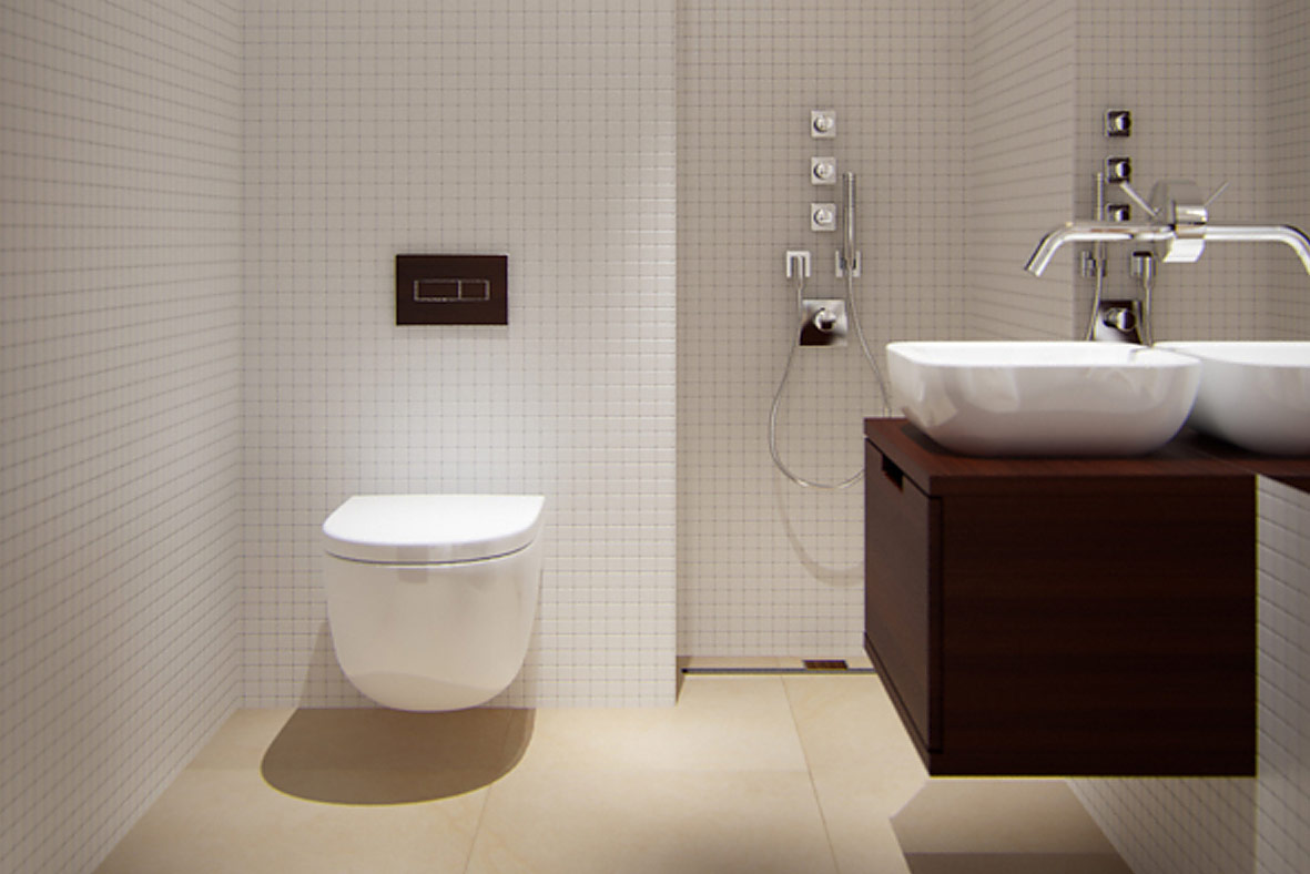 Bathroom furniture, washbasins, toilets, shower trays, bathtubs and accessories – we use products of the highest quality.